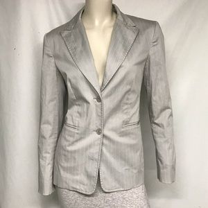 Talbots pale grey blazer with white pinstripes